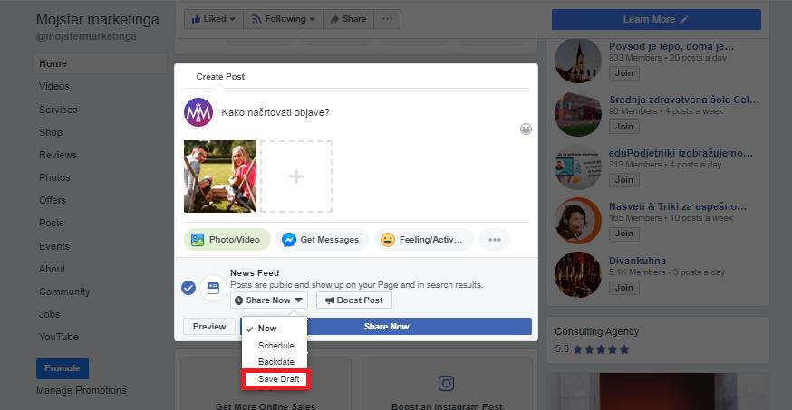 nacrtovanje Facebook objav